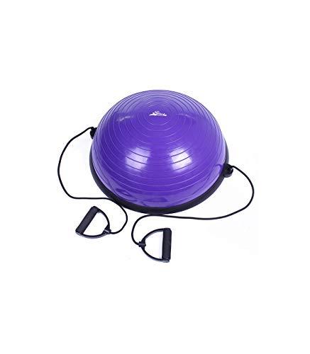 Riscko Semi Esfera de Equilibrio Antideslizante Air Step | Plataforma de Equilibrio con Inflador y Bandas de Resistencia | 58 Cm. | Morado