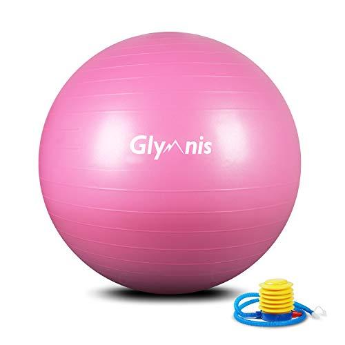 Glymnis Pelota de Ejercicio Pelota Anti-Burst para Pilates Gimnasia Fitness Equilibrio Yoga Embarazo 55cm 65cm 75cm con Hinchador Rosa (55cm)
