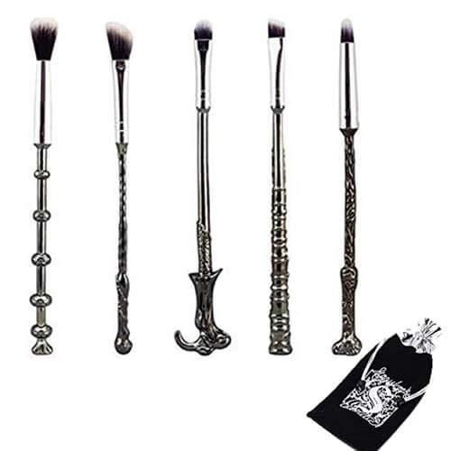 WeChip Juego de 5 brochas para maquillaje, diseño de varitas mágicas de Harry Potter