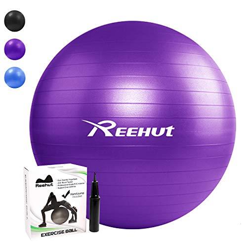 REEHUT Pelota de Ejercicio Pelota Gimnasia Pilates Anti-Burst con Bomba para Yoga Equilibrio Fitness Entrenamiento - 55cm 65cm 75cm