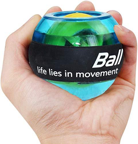 Ejercicios de entrenamiento de muñeca bola de potencia, bola giroscópica con luces LED, fortalecedor de potencia de muñeca y antebrazo para una mayor flexibilidad de muñeca músculos del brazo, azul