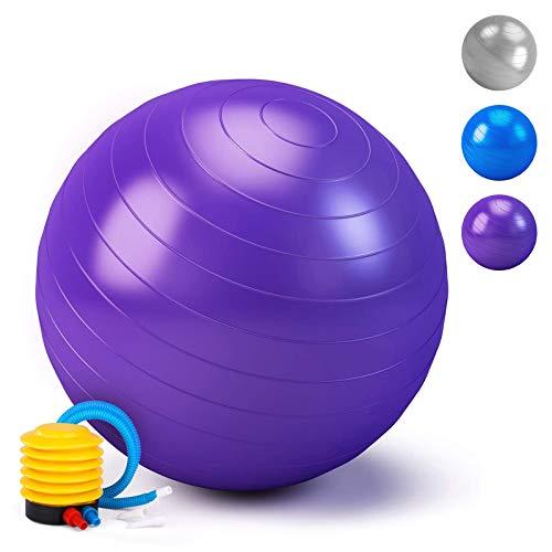HebyTinco Pelota de Gimnasia, Pelota de Yoga, para el hogar, para el Embarazo, Pilates, Yoga, para Ejercicios Abdominales y Ejercicios básicos de rehabilitación de Hombros (púrpura, 55cm)