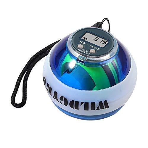 Justech Bola Energética de Entrenamiento Bola de Potencia Bola Automática de Empieza para Ejercicio Accesorios de Fitness Bola Giroscópica LED de Fuerza con LCD Pantalla para Muñecas Brazos Manos
