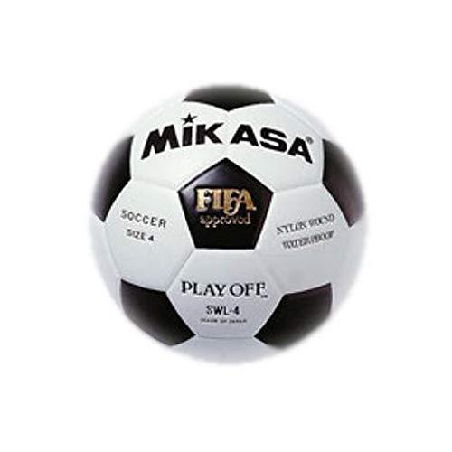 MIKASA SWL-4 - Balón de fútbol, Color Blanco/Negro, Talla 4