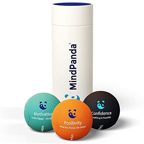 Paquete de bolas antiestrés MindPanda 3X | Tri-Density para terapia de ejercicio manual - Fragancia para un enfoque adicional - Afirmaciones motivacionales (Dark - Motivational Stress Balls)
