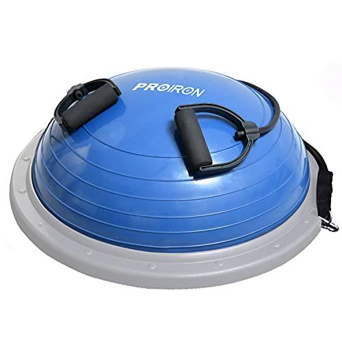 PROIRON Balance Trainer Ball Equilibrio Fitness Ø 60cm Bossu Media Pelota Equilibrio Soportar 300kg, Semiesfera Bozu Entrenamiento Bola con Inflador y Gomas, para Gimnasio Estabilidad Azul