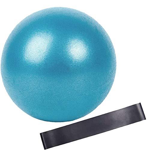Slosy Kit Pelota para Pilates 25Cm Pequeña Azul + Bandas Elasticas Accesorios Gym Bola De Yoga Material de Gimnasio Entrenamiento Crossfit Mejora la Resistencia Musculación Cinta de Goma