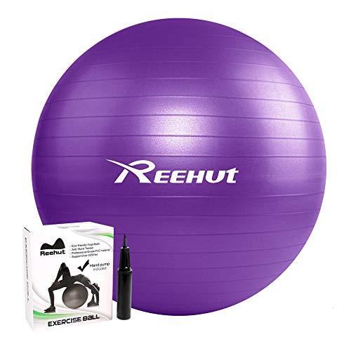 REEHUT Pelota de Ejercicio Pelota Pilates Gimnasia Fitness Anti-Burst con Bomba para Yoga Equilibrio Fitness Entrenamiento - 55cm 65cm 75cm