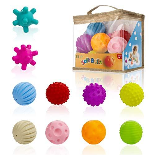 Comius Sharp 10 Pieza Bolas Sensoriales para Bebés Soft Hand Ball Grip Ball Sensor Ball Set Textured Multi Ball Set, Infantil Pelota Educativa Suaves Garre Juguete de Baño
