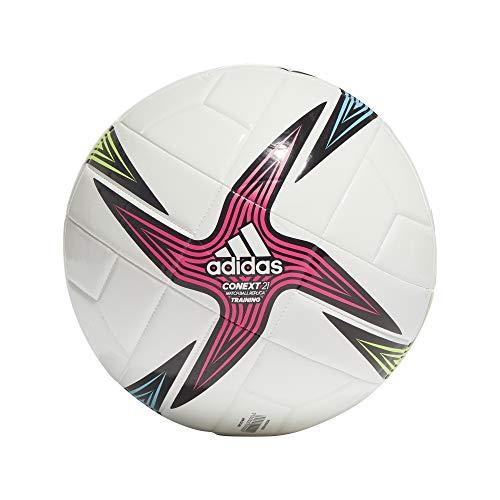 Adidas GK3491 CNXT21 TRN Soccer Ball Mens Top:White/Black/Shock Pink/Signal Green Bottom:Bright Cyan 5