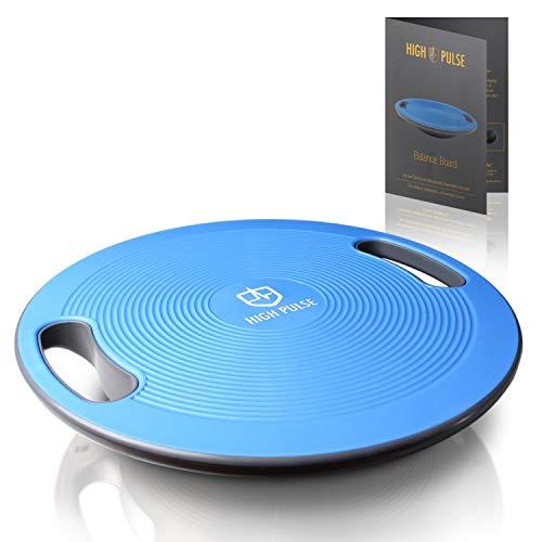 High Pulse Tabla de equilibrio (Ø 40 cm) + Poster con ejercicios – Innovadora plataforma con asas para entrenar equilibrio, coordinación y fuerza – Apto para rehabilitación y fisioterapia (Azul)