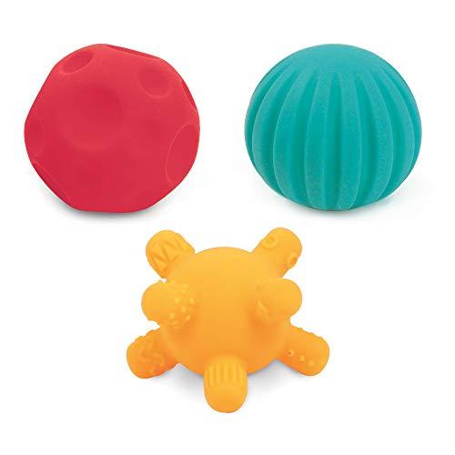 Ludi 30079 - Trio de pequeñas Pelotas sensoriales de plástico Flexible (6 Meses, 6,8 cm), Multicolor
