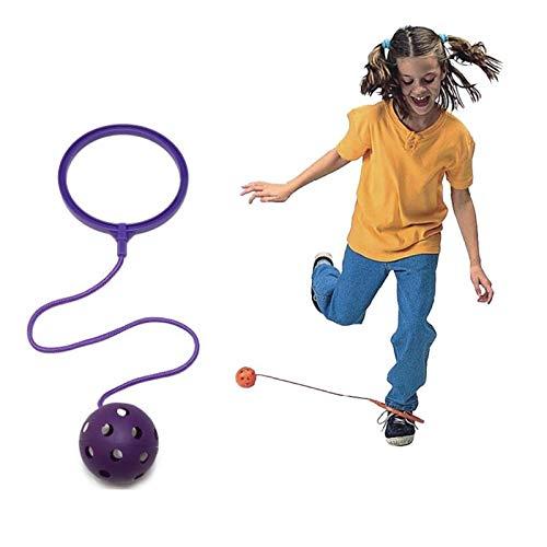 Boyigog Bola de Salto de Tobillo, LED Swing Bolas, Balones Saltadores, Aro de Salto Luminoso Plegable Apto para Que Niños y Adultos Hagan Ejercicio en Casa(Púrpura-no brillará)