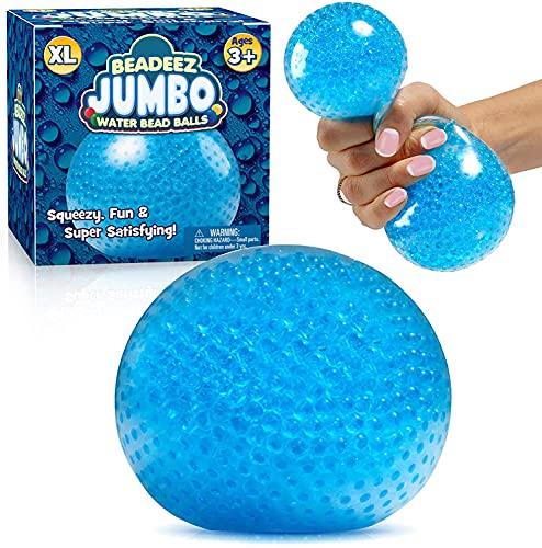 AINOLWAY Pelota antiestrés con perlas de gel, tamaño grande (azul) para aliviar la ansiedad, juguete sensorial para niños y adultos