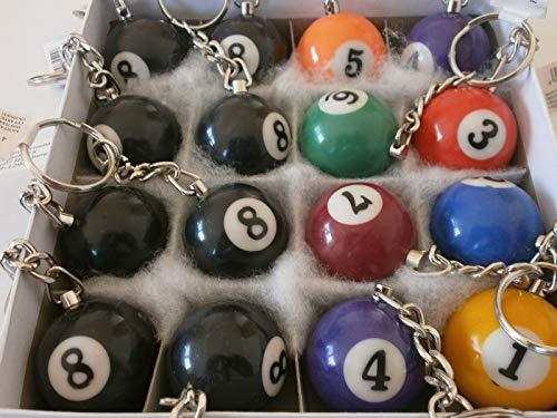 Schnooridoo 16 bolas de billar de 3 cm en llavero, llavero de billar