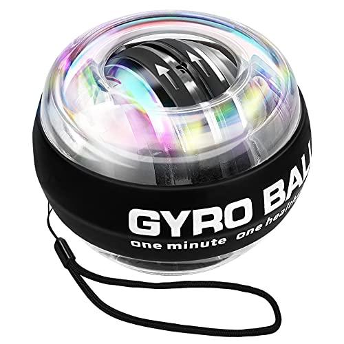Bola Giroscopios para Ejercicio, Giroscopio de Ejercicio de Mano de precisión de 280 Hz, Bola de energía de Arranque automático LED para rehabilitación y Desarrollo Muscular, Calentamiento