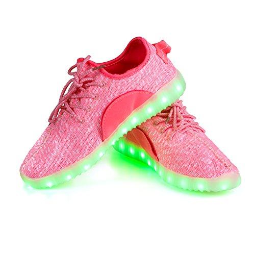 Shinmax Led Shoes, 90% nuevo, pequeñas arrugas en la cara de cuero PU, zapatillas de deporte con luz LED para hombres y mujeres, UK3/EU36, rosa 3