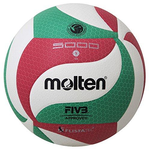 Molten VM5000 - Balón de Voleibol, Blanco, Rojo y verde, Talla 5