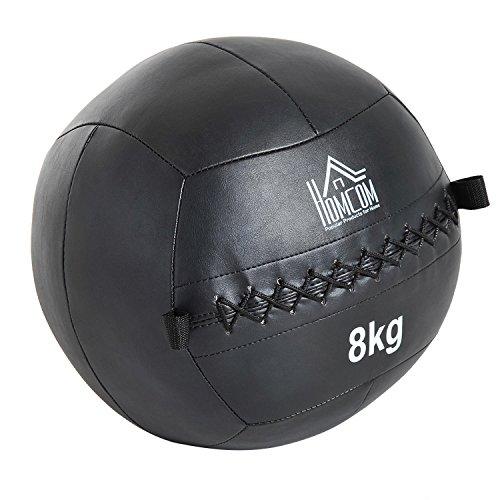 HOMCOM Balón Medicinal 8Kg con Asas Tipo Pelota de Ejercicios de Cuero y PU Ф35cm