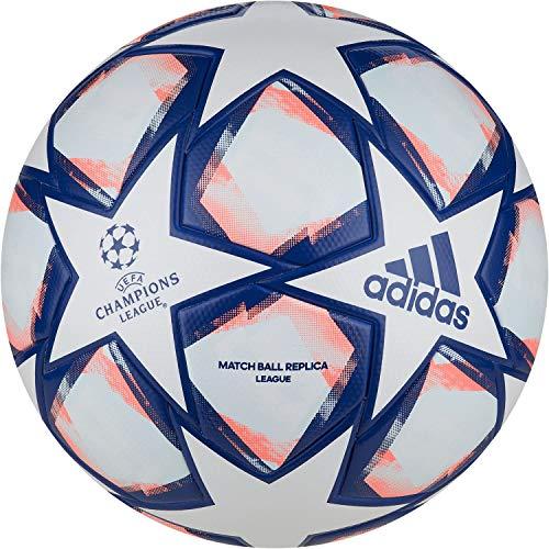adidas Fin 20 LGE Soccer Ball, Men's, White/Team Royal Blue/Signal Coral/Sky Tint, 4