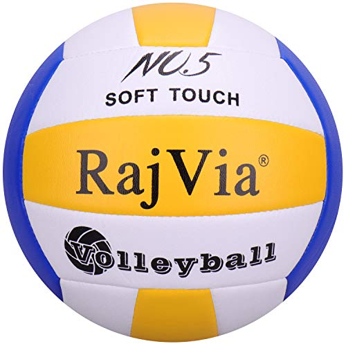 Rajvia Soft Touch Voleibol Tamaño Oficial 5 Interior al Aire Libre Playa Gimnasio Juego de Pelota Cuero sintético (Azul Amarillo)