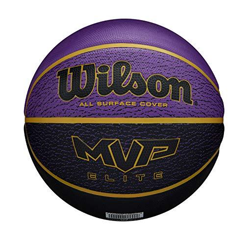 Wilson WTB1461XB07 Balón de Baloncesto, Mvp Elite Bskt 295 Prbl, Tamaño 7, Cubierta de Goma, Todas las Superficies, Morado/Negro