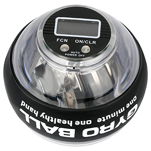 Bola Giroscopios ejercicio con contador LCD, Giroscopio de ejercicio de mano de precisión de 280 Hz, bola de energía de arranque automático LED para rehabilitación y desarrollo muscular, calentamiento