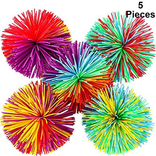 Bola de Antiestrés Bola Que Rebota Pom de Arcoiris Suave Bolas de Hilos de Inquietud Sensorial, Multicolor (5 Piezas)